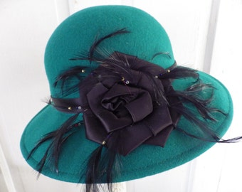 Vintage Lancaster Wool Felt Hat Emerald Green with Black Feathers