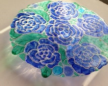 Peony Glass Cake Stand, Vintage Cake Stand, Fused Glass Cakestand, Made in the UK