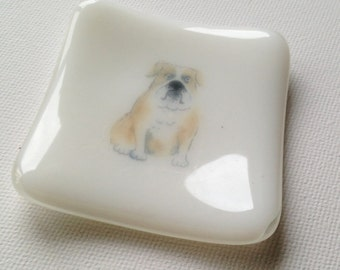 Staffy Trinket Dish, Handmade in the UK, Fused Glass