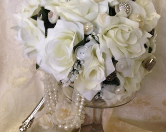 Vintage Button and Silk Rose Bouquet