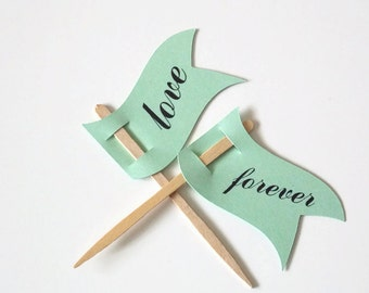 Mint cupcake Toppers,Wedding Cupcake Toppers,Forever Toppers,Love Toppers,Wedding Flag Toppers,set of 12