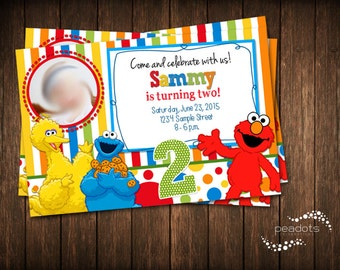 Sesame Street Invitations / Digital Invitations / Elmo / Cookie Monster / Big Bird