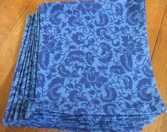 Blue on Blue Hemmed Cotton Napkins, Set of 8