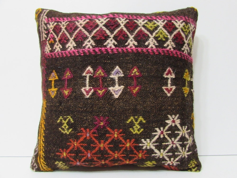 Large Floor Pillow Cases : black pillow 20x20 pillow case large kilim by DECOLICKILIMPILLOWS