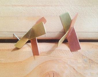 Folded copper+brass studs