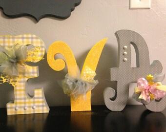 Custom Wood Letters. Nursery letters. Wedding decor.