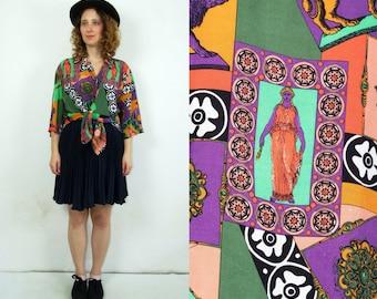 80's vintage women's colorful patterned boho oversize shirt