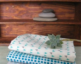 Four Teal and Gray Fat Quarters