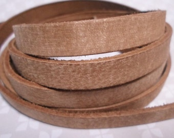 SALE: 1 Meter  10mm Flat Leather Cord, Distressed Toffee