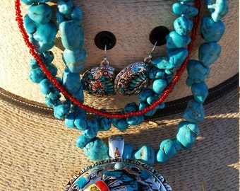 Tribal turquoise necklace and earrings set.