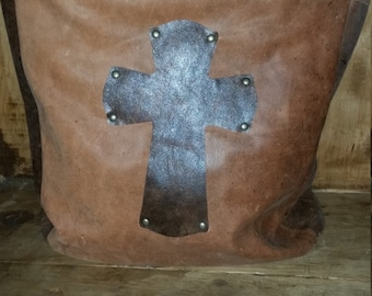 Handmade Western Leather purse with Cross