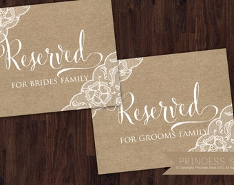 Reserved Bride and Groom Burlap Signs, Rustic Wedding, Wedding Sign, Bride & Groom Printable, Reserved Table Sign
