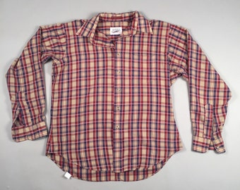 80s vintage beige, burgundy and navy long sleeve plaid button down shirt sz 16 large