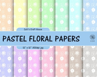 Pastel Flowers Digital Papers - 14 soft pastel backgrounds - white flower background pattern - Commercial Use - Instant Download