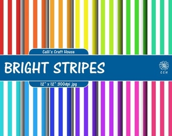 Bright Stripes Digital Papers - 14 bright colors with white stripes - rainbow stripe backgrounds - Commercial Use - Instant Download