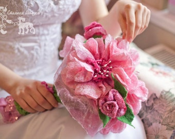 Felt Bridal Bouquet, decorated with Beads, Pink-White