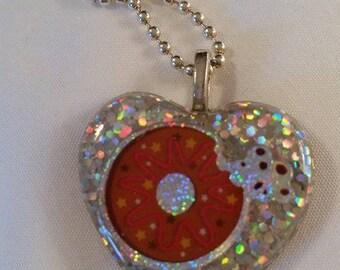 Doughnut Heart Resin Necklace Pendant by JoshsPonyPrincess