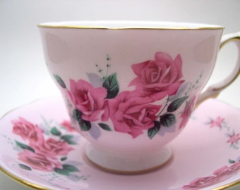 Pink Colclough  Tea Cup and Saucer, Pink tea cup and saucer set with Pink Roses, English Bone China.