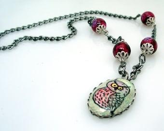 Owl Cameo Pendant Watercolor