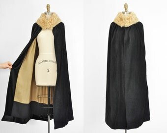Incredible 1920's Velvet Opera Cape Coat with Mongolian Fur Collar, Silk Lining