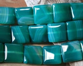 Green Dyed Agate 20mm Square Gemstone Beads Highly Polished Jewelry Supplies Craft Art