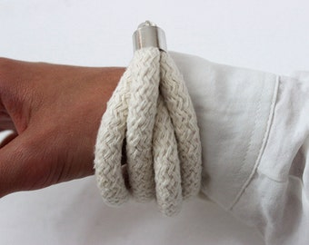 White Rope Bracelet with transparent detail - Chunky Rope Bracelet - Braided Bracelet - Minimalist bracelet - Cotton Rope Bracelet