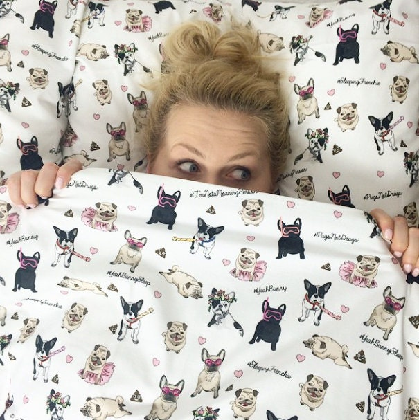 Queen Bedding Set Dogs Attack Yeah Bunny Frenchie By Yeahbunny