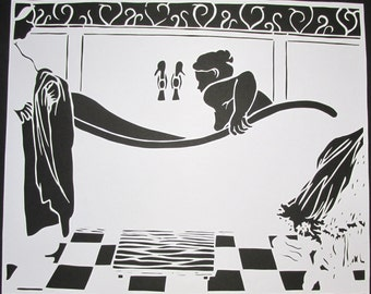 The bath inspired by Felix Vallotton, papercut
