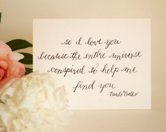 """Hand-lettered love greeting card – Paulo Coelho """"The Alchemist"""" quote"""