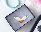 Porcelain White and Gold Chevron Necklace -Valentine's day, Modern Jewelry, Mother's day gift - bridesmaid gift - party favor, wedding favor