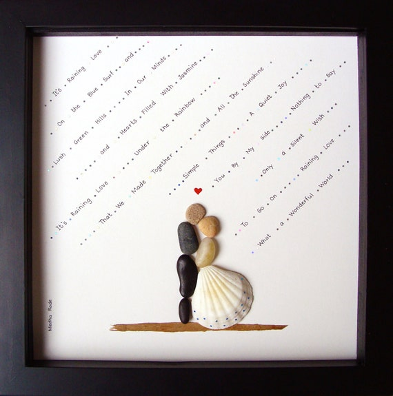 Wedding Gifts For Couples Pinterest : Wedding Gift-Pebble Art-Unique Engagement Gift-Wedding Art-Couples ...
