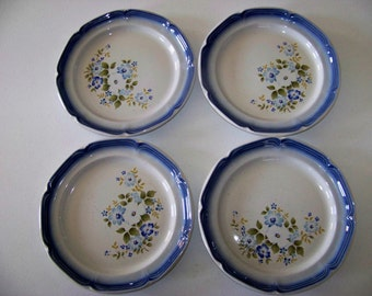 The Weigl Collection Blue Dawn Pattern Stoneware Set Of Four Dinner Plates