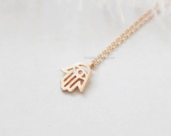 Tiny Hamsa Necklace, rose Gold Hamsa Necklace, Hand of Fatima Necklace, Evil Eye, wedding, bridesmaid, birth day gifts. dainty and simple.