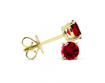 Classic 18ct Yellow Gold Ruby Stud Earrings