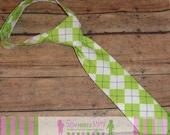 Boys Custom Lime Green Argyle Necktie Sizes Infant, Child, Youth