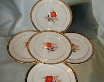 5 Vintage Triumph American Limoges Vermillion Rose Bread Plates 22K Gold Trim
