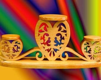 Three tiered fretwork candle holder handmade