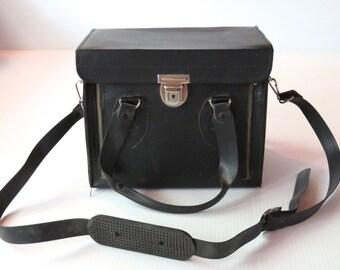 Vintage Black Camera Bag with Red Interior, Camera Case
