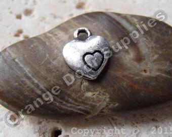 Small Silver Heart Charm - 9x10mm - 10 Pcs (JBC123)