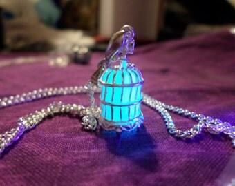Bird Cage, Glow In the Dark Jewerly, Glow Bird Cage Necklace, Glow Pendant, Bird Cage