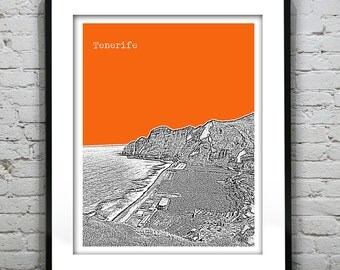 1 Day Only Sale 10% Off - Tenerife Canary Islands Spain Skyline Poster Art Print Version 1