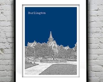 Burlington Vermont Skyline Poster Art Print Version 2