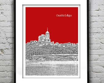 Cambridge Skyline Poster Art Print Charles River Massachusetts MA Version 51