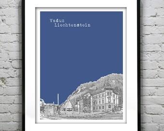 Vaduz Liechtenstein Skyline Poster Art Print