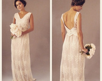 KATIE - Blush Lace Bohemian bridal gown wedding dress - backless - bespoke