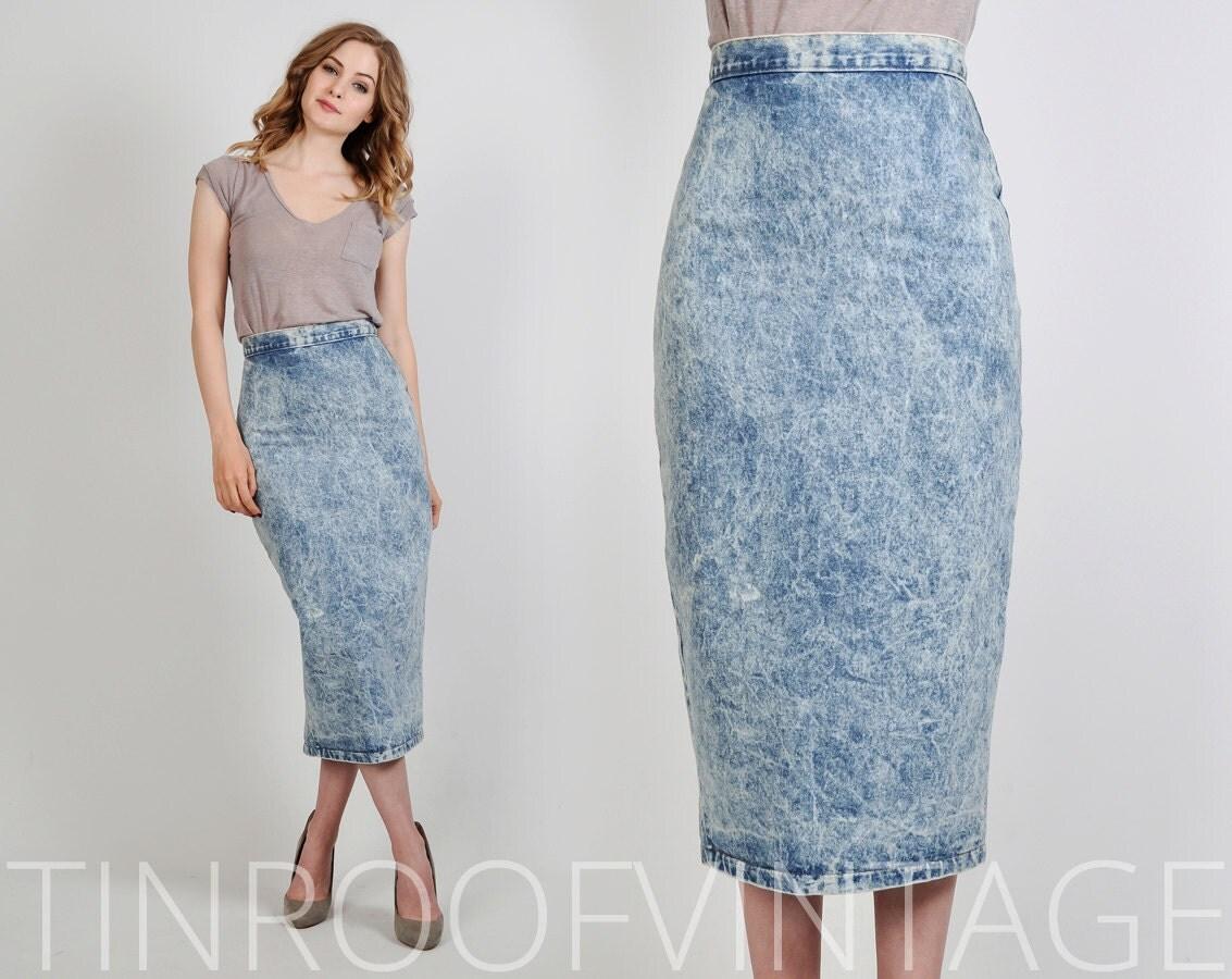 vintage 80s denim acid wash pencil skirt s xs by