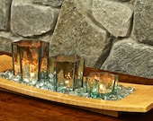 Decorative Wood Tray Candle Centerpiece in Curly Maple