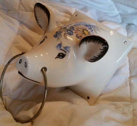 Vintage 80 S Large Ceramic Female Hog Pig Head By