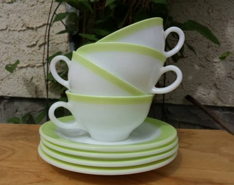 Set of 4 Pyrex Lime Dinnerware Cup and Saucers