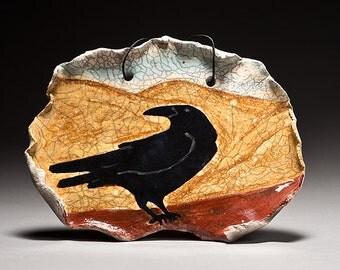 Raven with Mountains, Crow tile, Wall Art, Blackbird at Sunset Raku fired ceramic